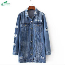 Europe Women s clothing 2017 spring new fashion hole in the long section cowboy Outerwear loose