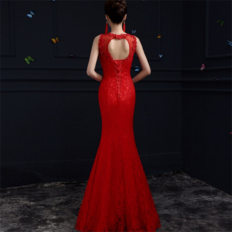 New Mermaid Evening Dresses Elegant Lace Bride Gown Sexy Open Back Ball Prom Party Homecoming/Graduation Formal Dress