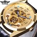 2016 Nova WINNER Marca Relógios Homens Moda Casual Mecânico Automático de Esqueleto relógios de Pulso De Ouro Relógio de Ouro Relogio masculino