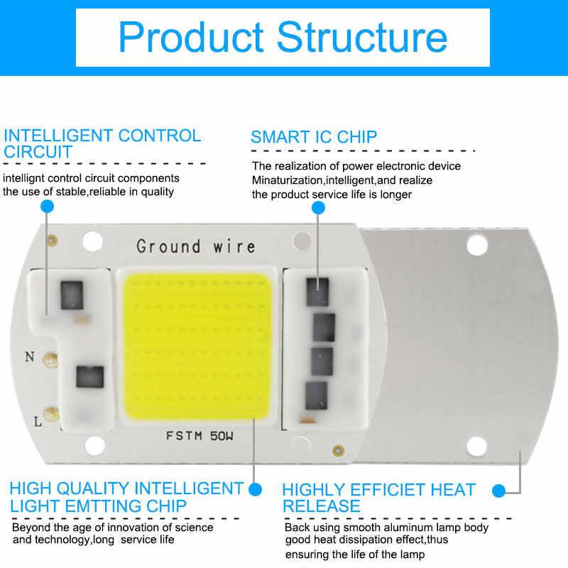 GreenEye AC 220V 5W~100W Integrated COB LED Lamp Chip 50W 30W 20W 10W Smart IC Driver High Lumens For DIY Floodlight Spotlight