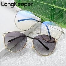 d1c71a465 العلامة التجارية الفاخرة القط العين النظارات الشمسية النساء Cateye أنيق  واضح عدسة الإطار المعدني العلامة التجارية مصمم نظارات شم.