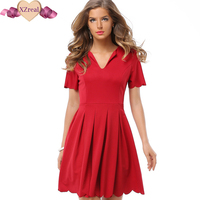 Women S Fashion Bouffancy Petal Wavy Edge Dress Red White Solid Beach Summer Tunic Casual Brand