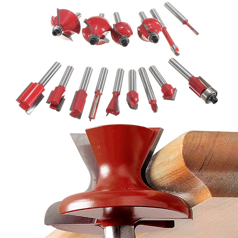 New 1/2(12.7mm) 15pcs Carbide Shank Wood Router Set Woodworking Cutter Trimming Knife Forming Milling Cutter Pack In Wood 1 4 shank milling cutter with bearing wood pvc router edge trimmer woodworking four teeth trimming knife
