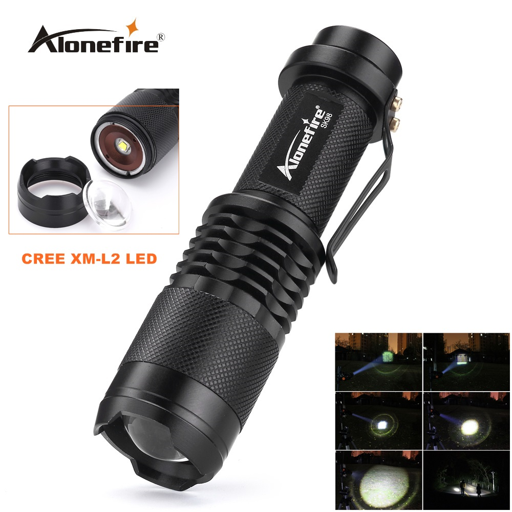 Alonefire SK98 CREE XM-L2 LED Zoomable LED Flashlight 2000Lumens Torch light for 18650 Battery cree xm l t6 bicycle light 6000lumens bike light 7modes torch zoomable led flashlight 18650 battery charger bicycle clip