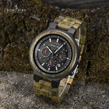 BOBO BIRD Men Watches Personalized Wood Watch Male for Him Handmade Lightweight Chronograph Date Causal relojes military