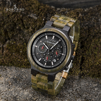 BOBO BIRD Men Watches Personalized Wood Watch for Him Handmade Lightweight Chronograph Date Causal relojes military