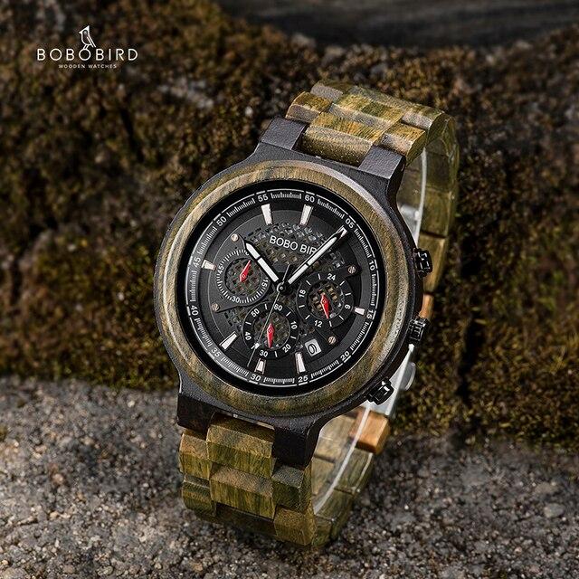 BOBO VOGEL Mannen Horloges Gepersonaliseerde Houten Horloge Mannelijke voor Hem Handgemaakte Lichtgewicht Chronograaf Datum Causale relojes militaire