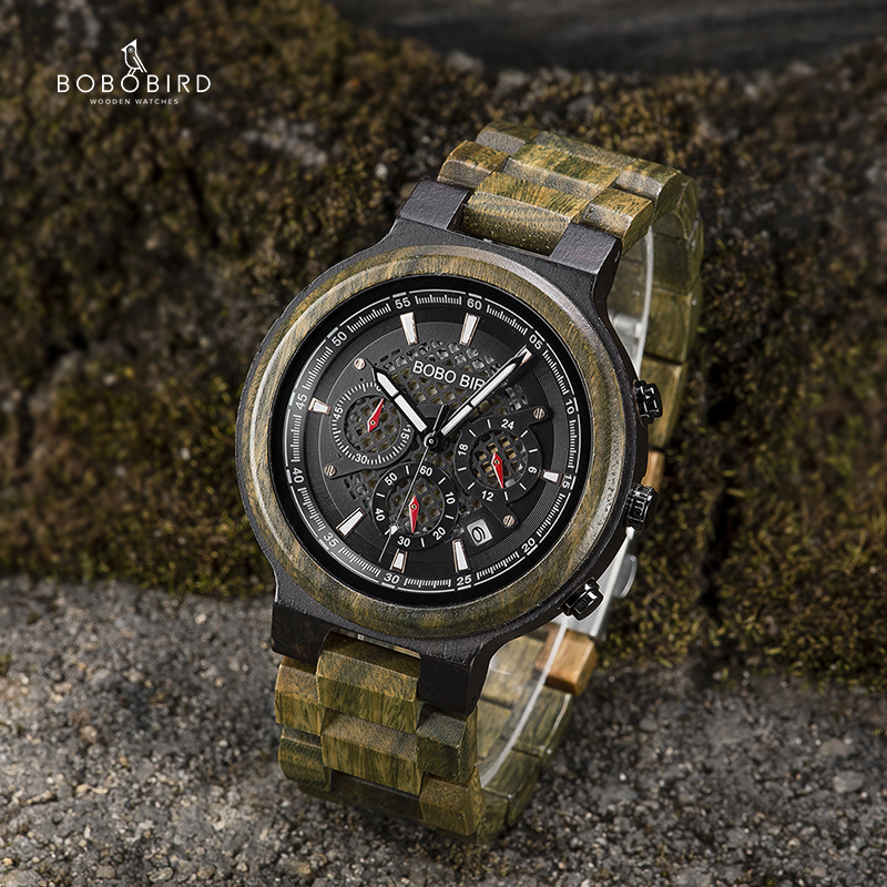 Bobo pássaro homem relógios de madeira personalizado relógio para ele artesanal cronógrafo leve data causal relojes militar
