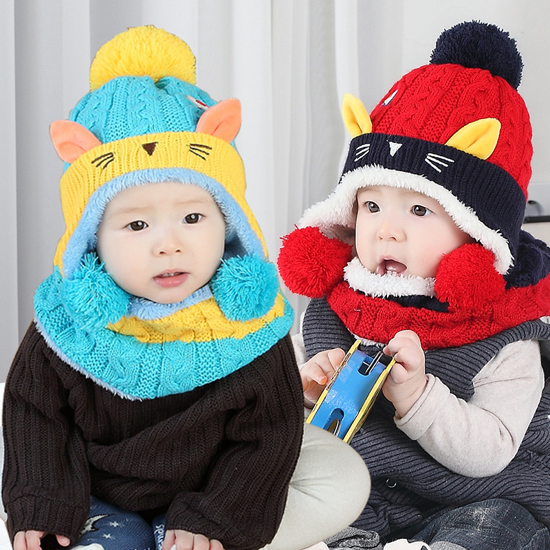 Winter Baby Hat and Scarf Cute Mouse Pattern Crochet Knitted Caps for Infant Boys Girls Children New Fashion Kids Neck Warmer
