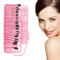 Pink Pro 32Pcs Superior Soft Cosmetic Makeup Brush Set Kit With Pouch Bag For Eye Brow