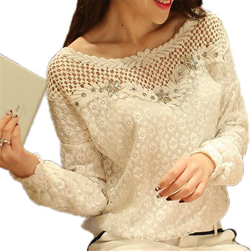 2017 Spring Autumn Women Fashion Lace Floral Patchwork Blouse Long Sleeve Shirts Hollow Out Casual Tops Plus Size XXL Pullovers