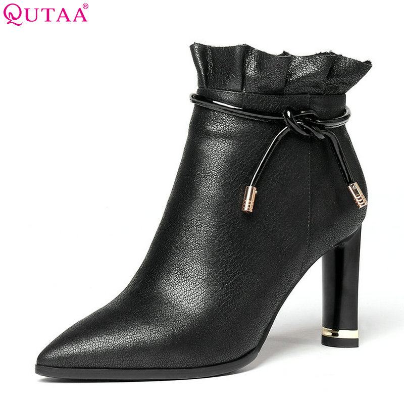 QUTAA 2019 Women Ankle Boots Cow Leather +pu All Match Platform Zipper Winter Boots Square High Heel Women Boots Size 34-43 qutaa 2019 winter boots women ankle boots all match platform zipper square high heel cow leather pu women boots big size 34 39