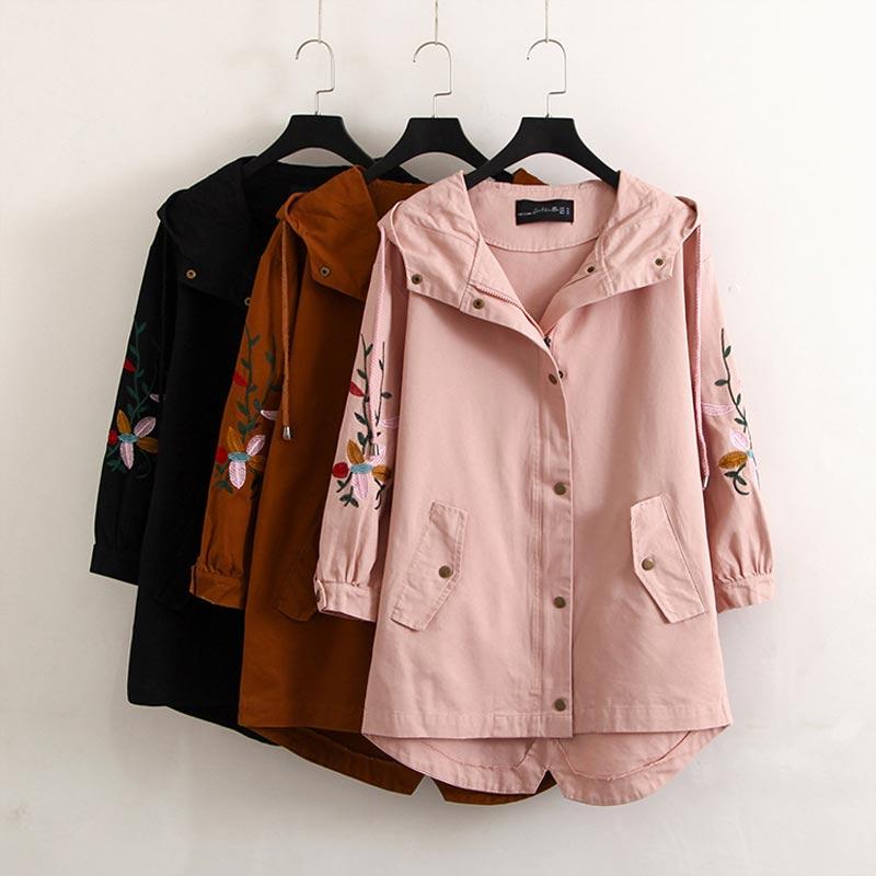 S74 Spring Casual Women Trench Coats 4XL Plus size Women