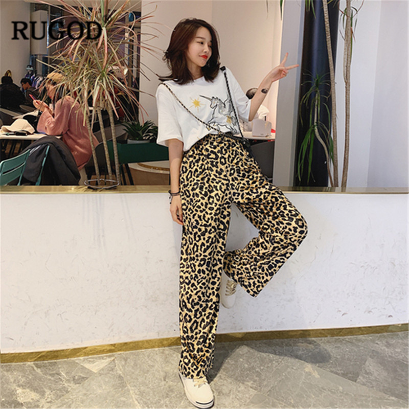 RUGOD Leopard Print Women Pants Wide Leg High Waist Loose Streetwear Fashion Harajuku Style Spring Long Pants For Feminino