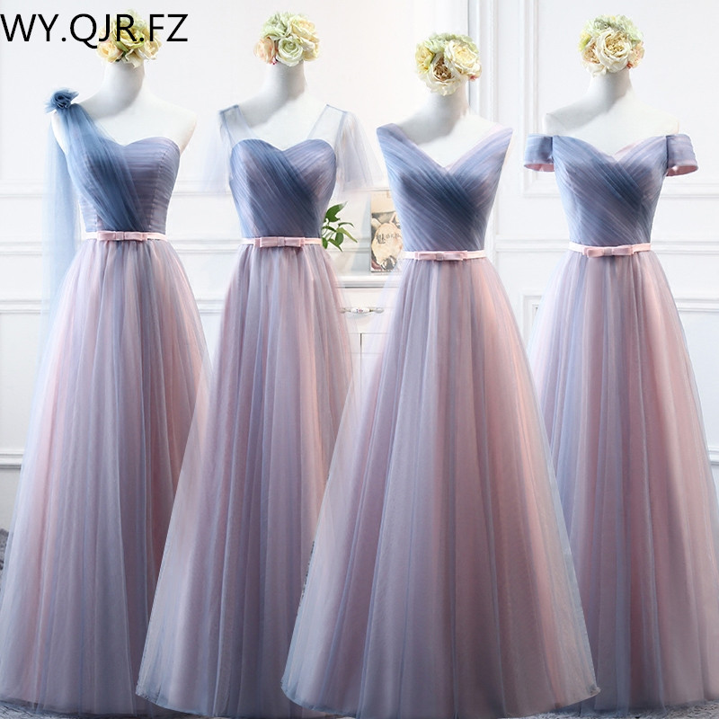 YYMY02#Off The Shoulder Floor-Length Boat Neck Lace Up Long Bridesmaid Dresses Wedding Party Prom Dress 2019 Wholesale Custom