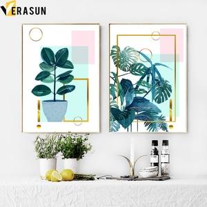 Image 3 - ירוק צמח Monstera עלים דקל גיאומטריה קיר אמנות בד ציור נורדי והדפסי קיר תמונות לסלון דקור