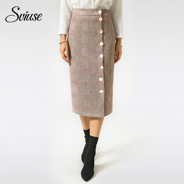 54112ff2d49b Women Plaid Suede Skirt Autumn Winter Female Vintage Button Long Straight Wrap  Skirts Elegant Ladies Sexy Faux Leather Skirts