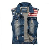 2016 New Brand Mens Denim Vest Men Cowboy Ripped Sleeveless Vintage Jacket Tank Spring USA Flag