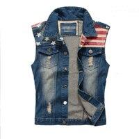 Dimusi merk mens denim vest mannen cowboy ripped mouwloze vintage jas Tank Lente USA Vlag gewassen Jeans Vest Plus Size 5XL