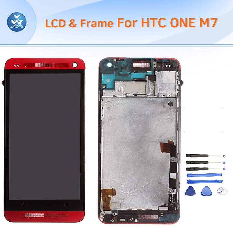 HTC One M7 LCD & Digitizer Assembly with Frame - Red