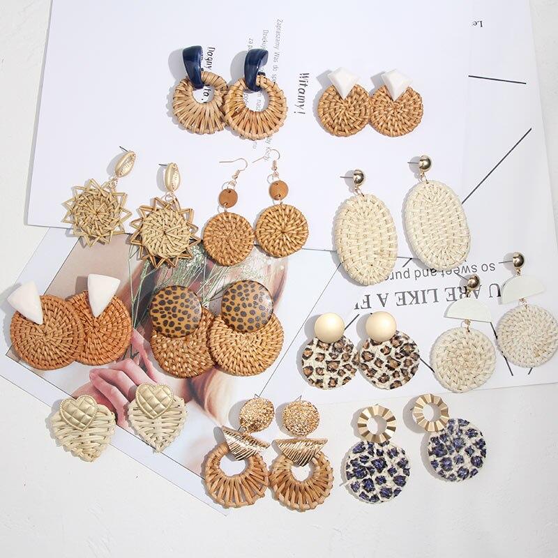 Flatfoosie nouvelle corée ronde boucles d'oreilles pour femmes naturel géométrique en bois bambou paille armure rotin tricot vigne plage boucle d'oreille 3