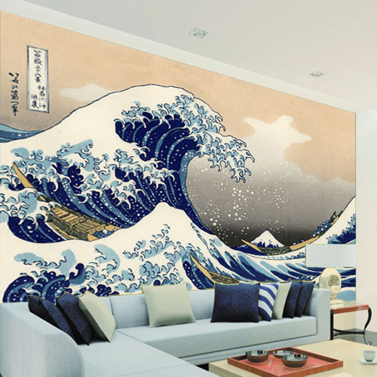 wave wall mural japan sea bedroom decor ukiyoe background tv wallpapers hallway