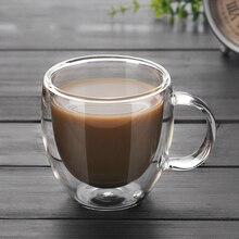 250ml 90ml Double coffee Mugs With the handle Mugs drinking Insulation double wall glass tea cup creative gift drinkware milk