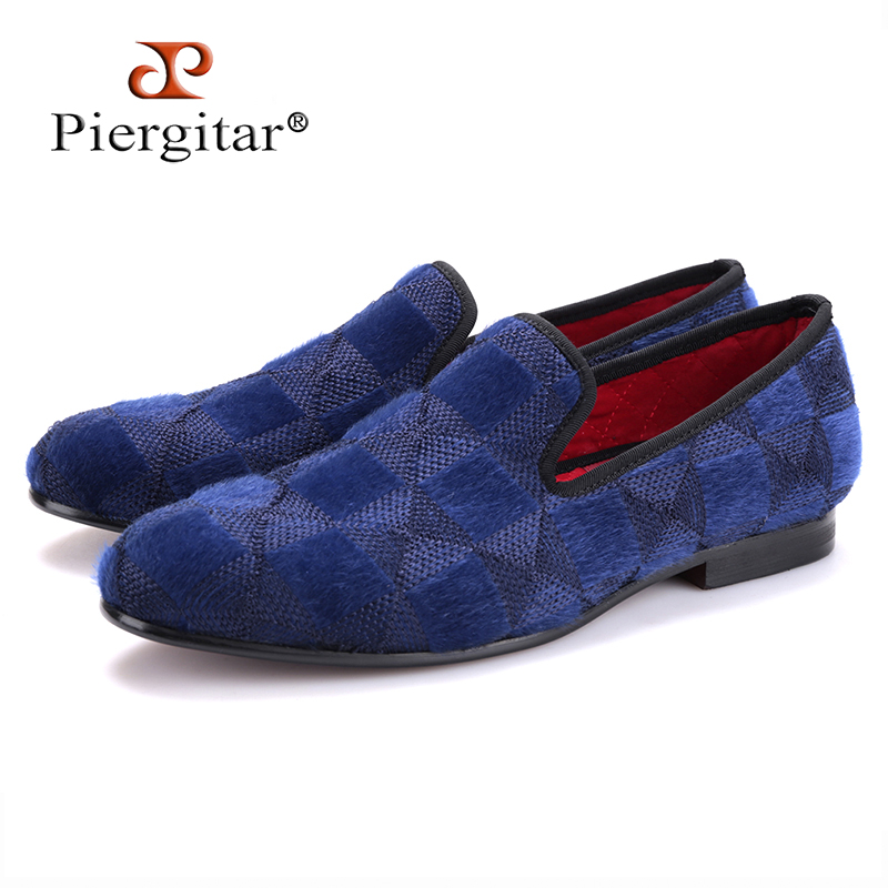 Piergitar 2017 two colors men velvet shoes with plaid horse hair design Handmade men prom loafers men plus size casual falts drape plus size plaid coat