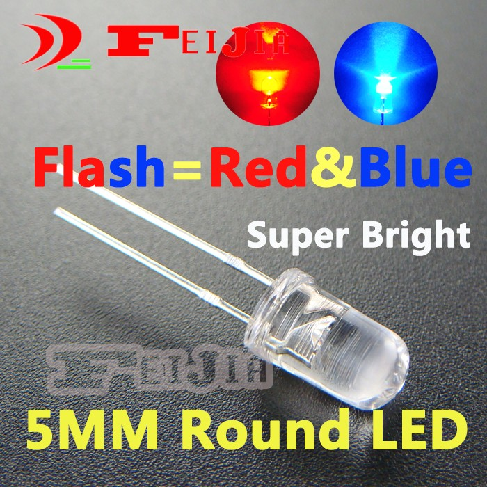 200pcs/lot 5mm Round LED Diode Lndicator Lights Super Bright Flash Red & Blue /RB Flash Free Shipping