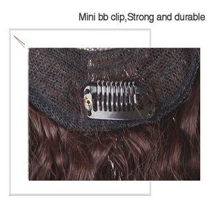 Image 5 - Allaosify parte superior encerramento peruca encaracolado cabelo sintético feito à mão natural preto cabelo topper grampo de cabelo em extensões de cabelo