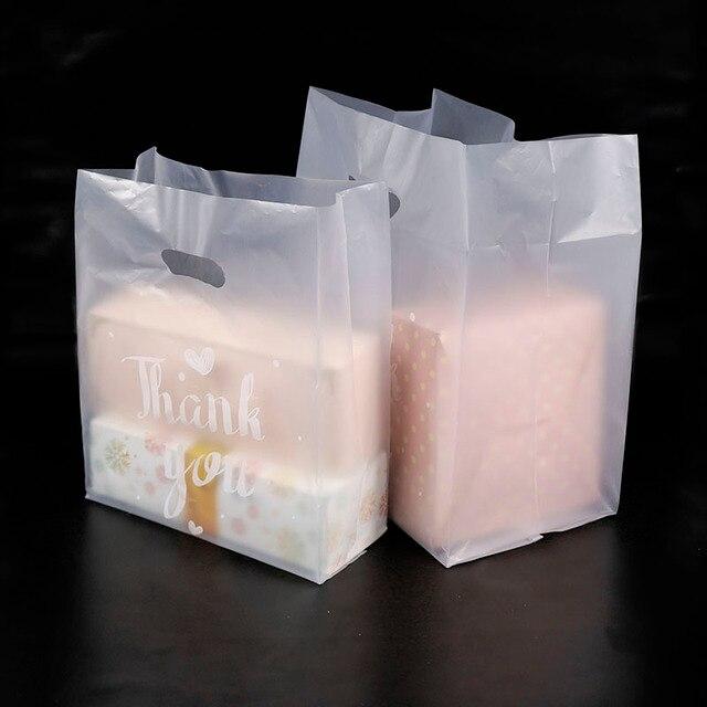 50 個ありがとうプラスチックギフトバッグ布収納ショッピングバッグハンドルパーティー結婚式プラスチックキャンディケーキバッグ