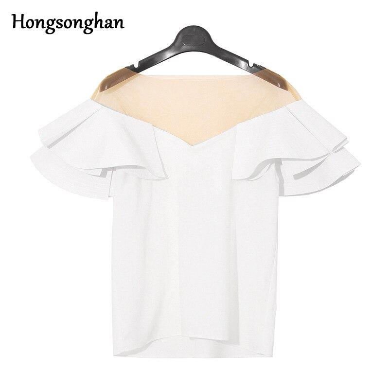 Hongsonghan 2018 slash cou volants épissé à manches courtes hauts couleur unie maille poitrine sexy chemises d'été femmes mode marée