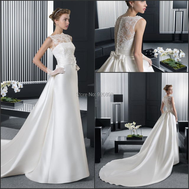 Hot Sale Clean And Pure Wedding Dress With Flower Sash Removeable Train New Arrive High
