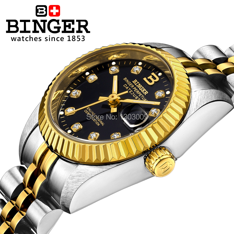 BINGER genuine gold automatic mechanical watches female form women dress fashion casual brand luxury wristwatch Original box top brand binger fashion casual watch female form hollow automatic mechanical watches self winding women waterproof leather