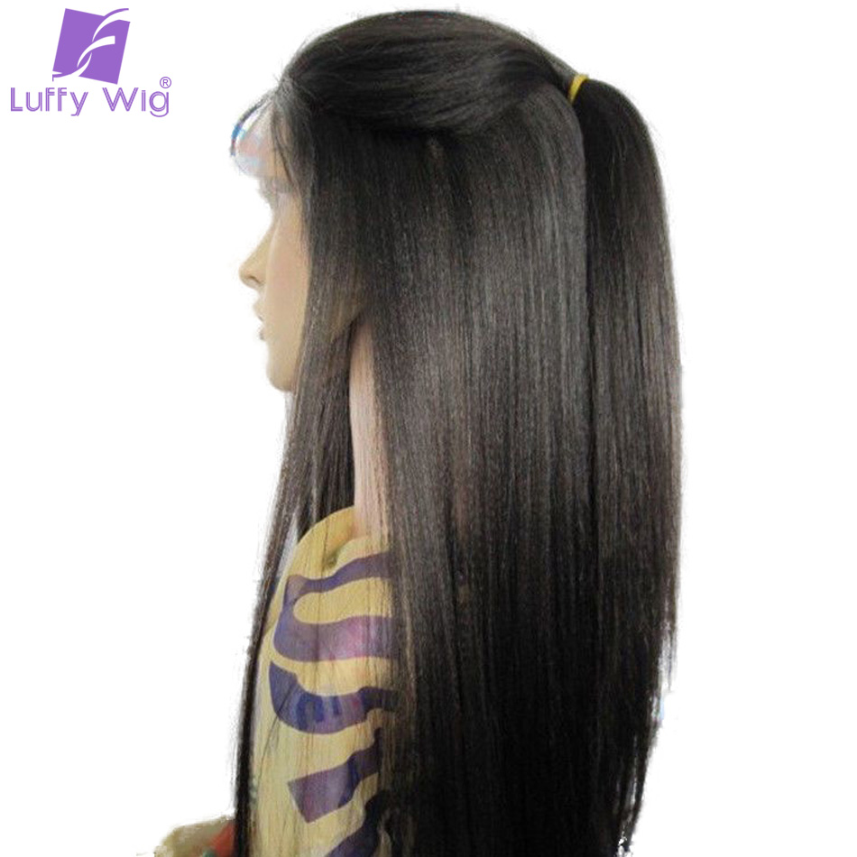 Luffy Pre Plucked 5 * 4,5 tums Glueless Silk Base Full Lace Wigs Människohår Ljus Yaki Rak Brazilian Non Remy 130 Density