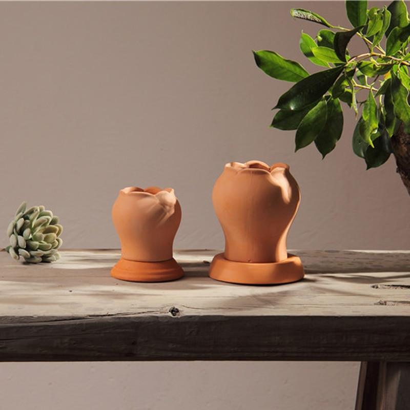 ΕΛΕΥΘΕΡΗ ΝΑΥΤΙΛΙΑ JIAYAN Flower Pots Αρχική Διακόσμηση Lotus Shap Bonsai Έχετε μια τρύπα για να απορροφήσετε αναπνεύσιμα φυτά.