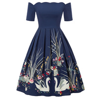 Casual Dress Cocktail Swing Short Birthday Retro Ball gown Womens Ladies 1/2 sleeve Black A line Floral Fashion