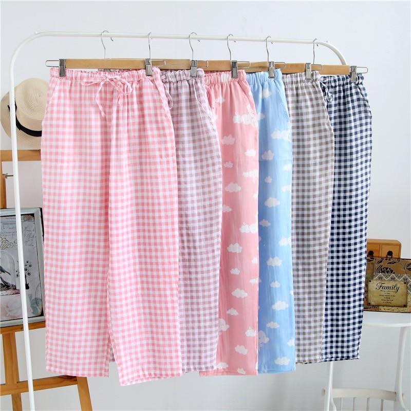 Summer Ladies Pajamas Knitted Cotton Pants Men's Women Plaid Trousers Loose Casual Sleep Bottoms Sleepwear Pants Pijamas Pyjama
