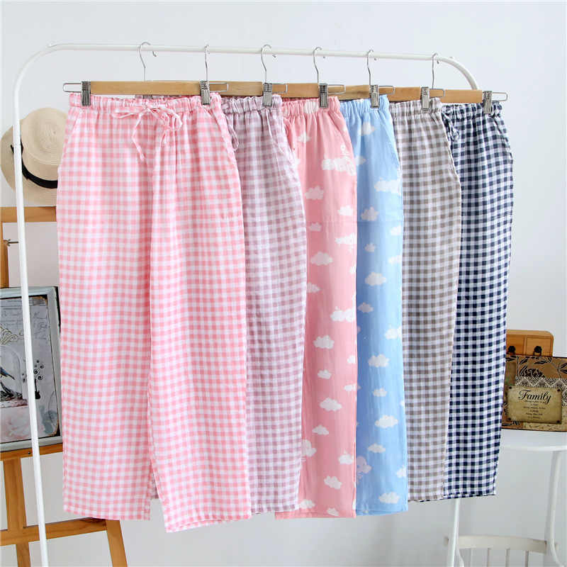 53998e825 Summer Ladies Pajamas Knitted Cotton Pants Men s Women Plaid Trousers Loose  Casual Sleep Bottoms Sleepwear Pants