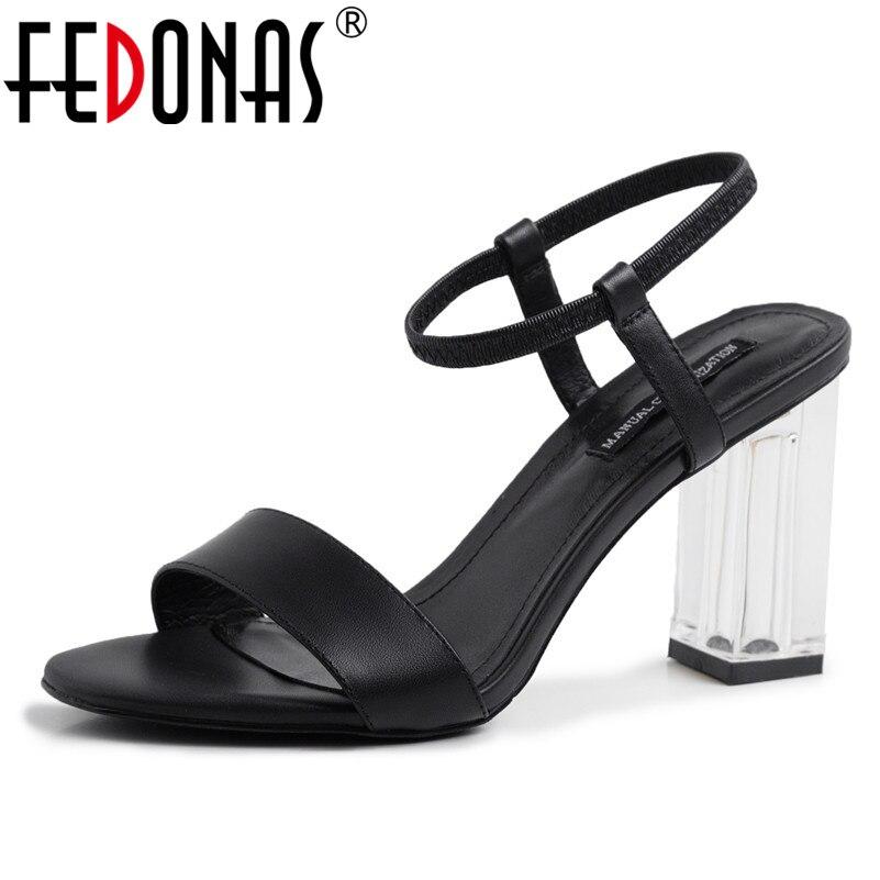 FEDONAS Vintage Elegant Women Sandals 2019 Summer New Round Toe Square Heeled Shoes Woman Genuine Leather