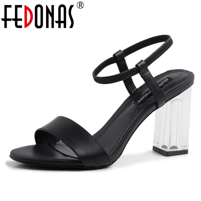 FEDONAS Vintage Elegant Women Sandals 2019 Summer New Round Toe Square Heeled Shoes Woman Genuine Leather Wedding Party ShoesFEDONAS Vintage Elegant Women Sandals 2019 Summer New Round Toe Square Heeled Shoes Woman Genuine Leather Wedding Party Shoes