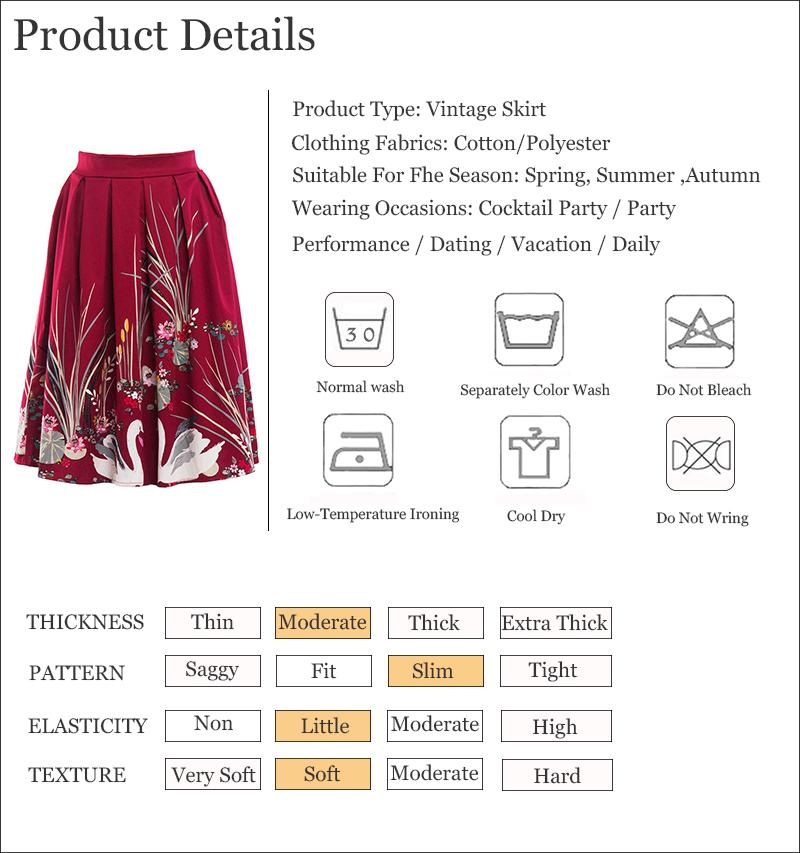 Kostlish 2017 Retro Print Summer Skirts Womens High Waist 50s Vintage Midi Skirt Elegant Slim Big Swing Women Skirt Plus Size (15)