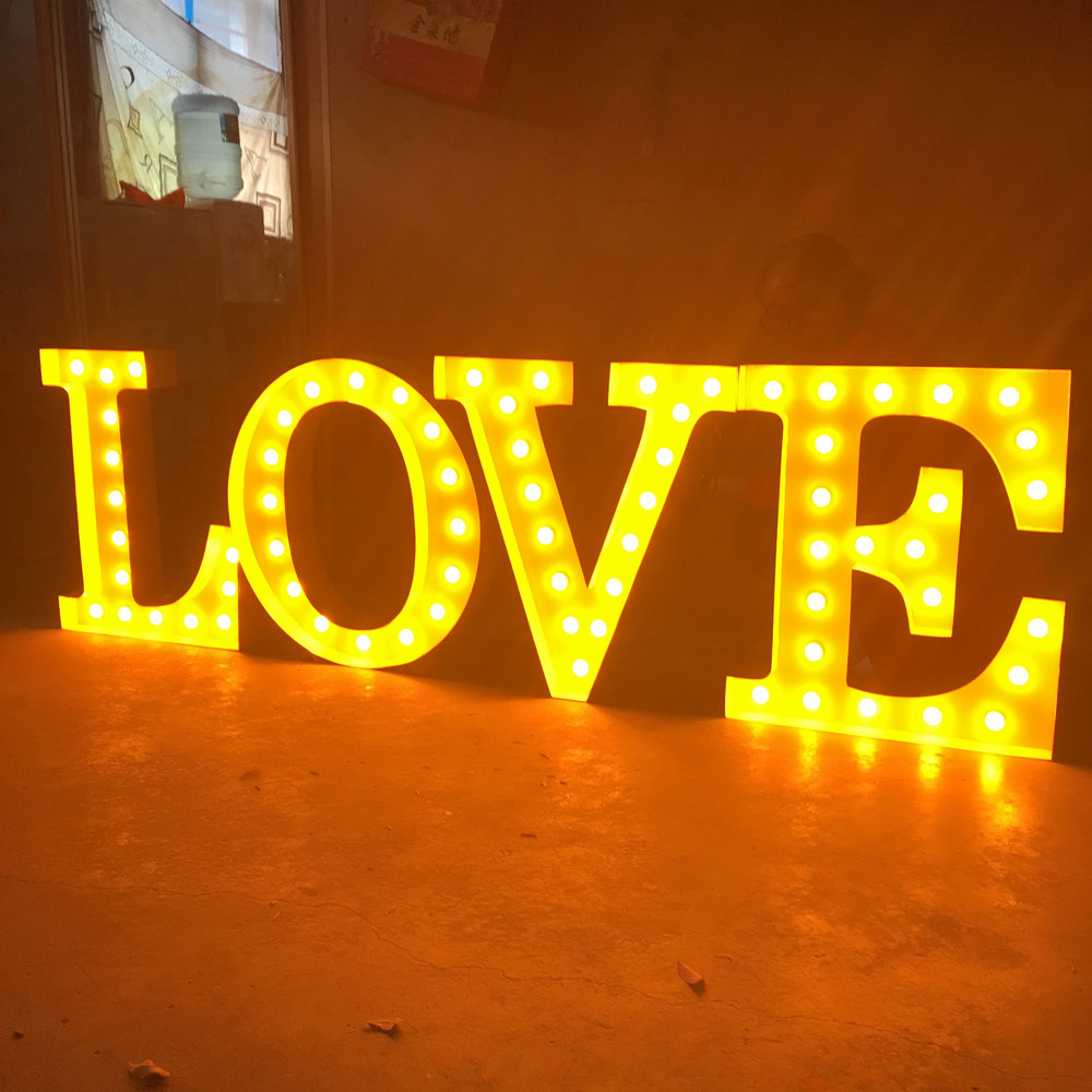 PVC love letters sign bulb light letters for shop and wedding decoration