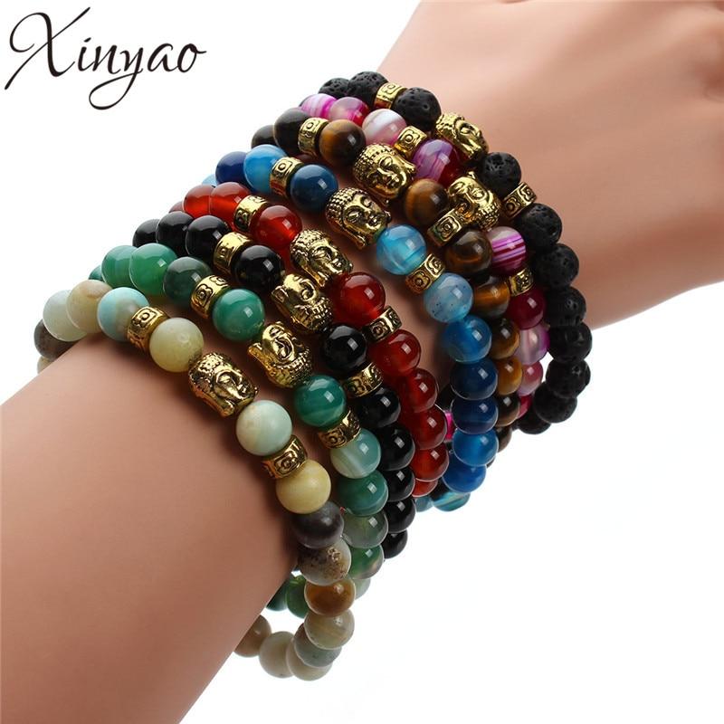 XINYAO 2019 Natural Black Agates Lava Tiger Eye Stone Beads Bracelet Antique Gold/Silver Color Buddha Head Bracelets Men Women