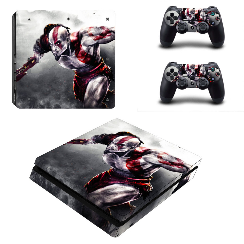 Купить с кэшбэком God of War PS4 Slim Skin Sticker For Sony PlayStation 4 Console and 2 Controllers PS4 Slim Sticker Decal Vinyl Skin