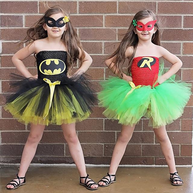 Muchacha de los niños tutú vestido super hero batman y robin chica del traje de halloween kids summer dress tutu partido photography ropa de la muchacha