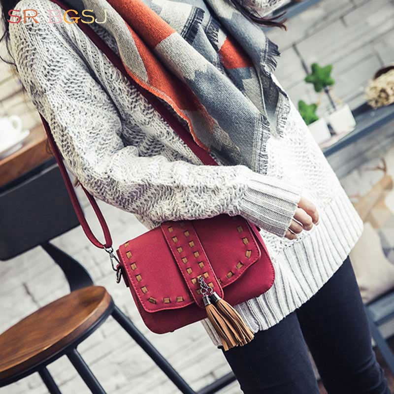 4 Colors Popular Trend Woman Satchel Handbag Messenger Hobo Small Mini Brief Leather Tassel Shoulder Bag