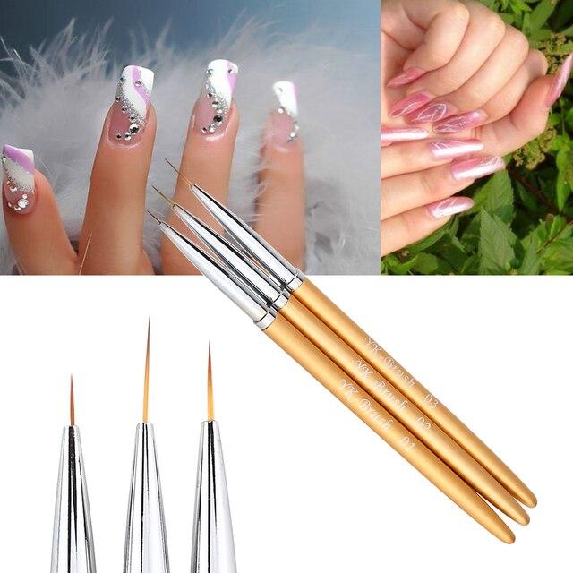 3Pcs Nail Art Lines Painting Pen Brush Set Gel Polish Tips Flower 3D ...