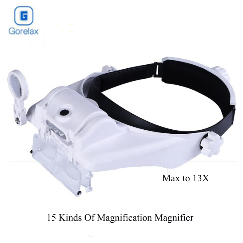 Glasses Magnifier Headband Helmet Magnifying Glasses Led Lluminated Magnifier Loupe Optical Glasses Len Magnifier Reading Repair