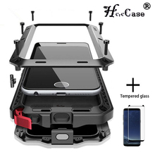 Filme de vidro + completa proteção de luxo doom armadura caso metal à prova de choque capa para samsung s20 s8plus s9 s9plus note20 10 9 caso